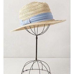 Anthropologie Chambray Trim Rancher Hat
